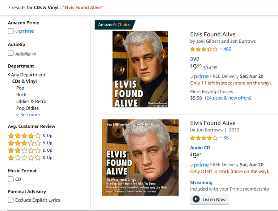 Amazon com Elvis Found Alive CDs Vinyl