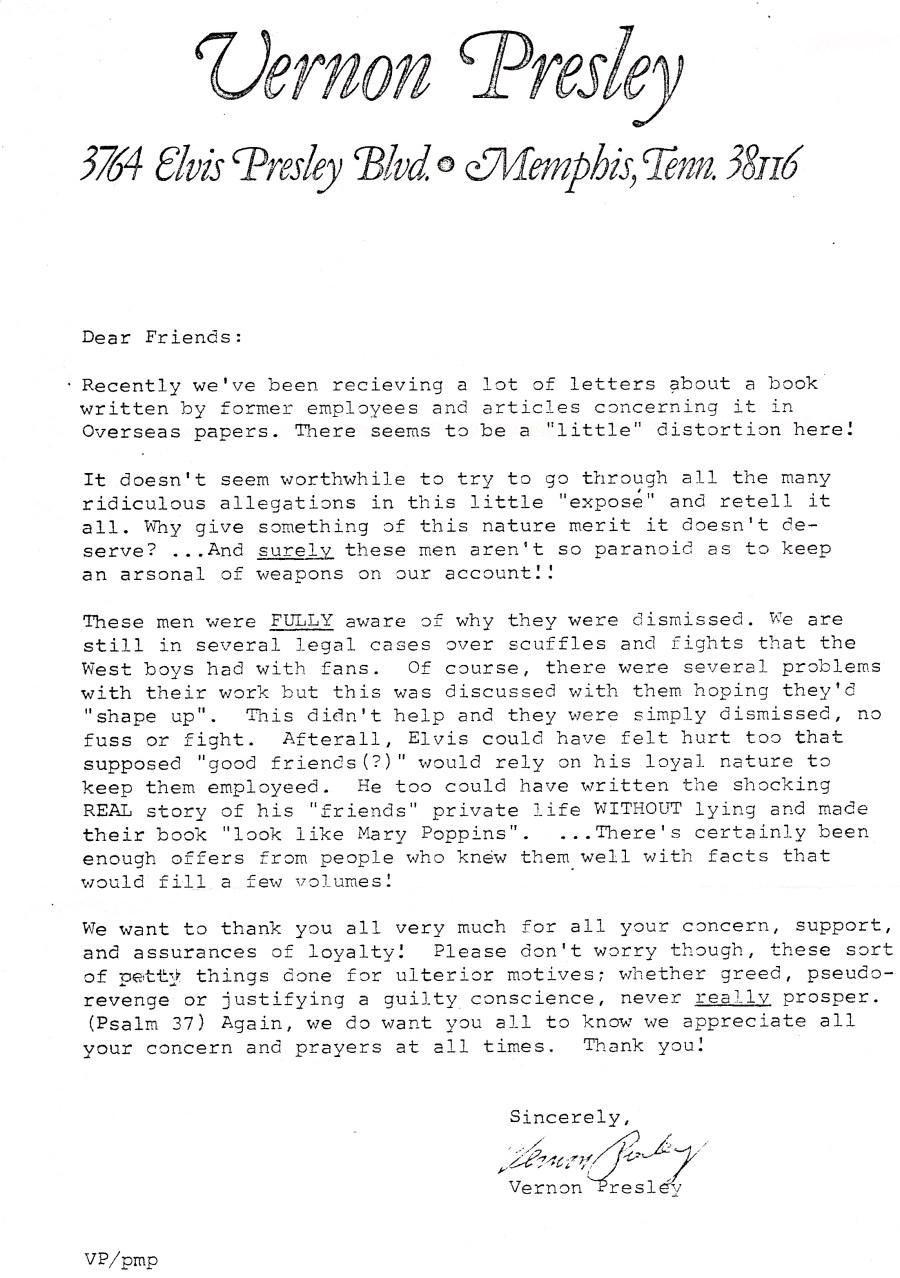 Vernon Presley letter 1977