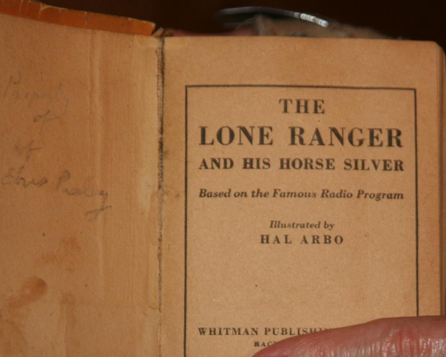 Signature and first page of Lone Ranger book from Jesse