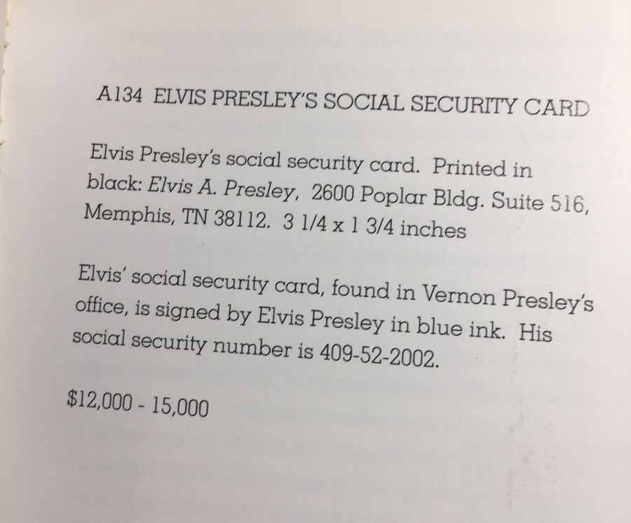 Elvis archives social security card description