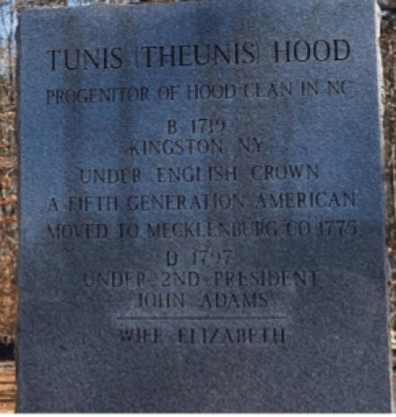 Tunis Hood new grave marker