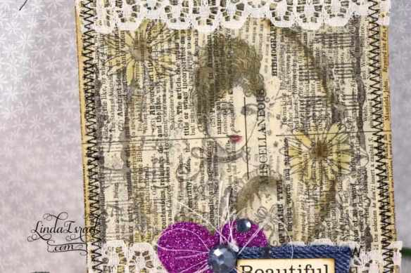 Stamped Lady with Lace Journal Card
