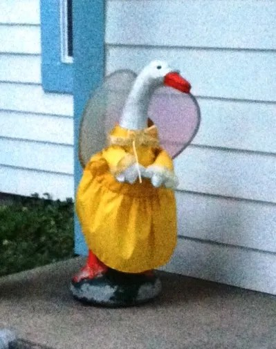 dressed goose lawn statue
