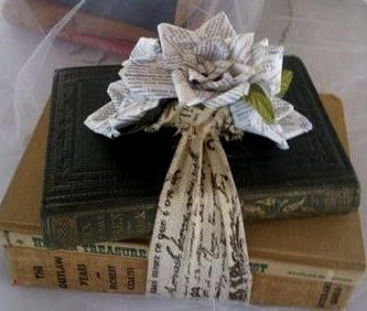 paper rose and books