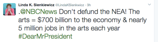 tweet supporting the arts