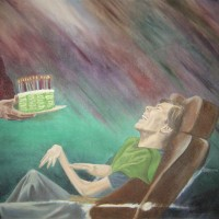 CHRISSY'S BIRTHDAY - original oil portrait painted on wood - A LESSON ON GRATITUDE