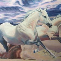 "WILD & FREE, acrylic painting of horses on 24"" x 36"" gallery canvas"