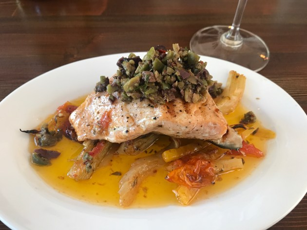 Grilled Atlantic Salmon, braised vegetables, olive tapenade