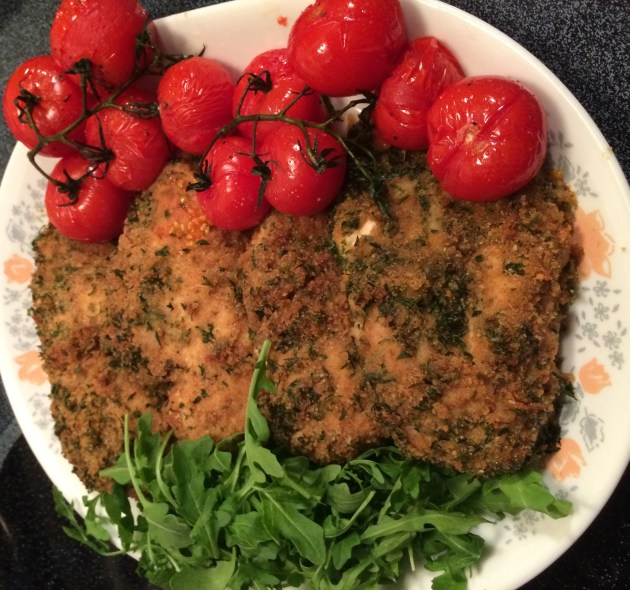 Breaded Chicken With Roasted Campari Tomatoes