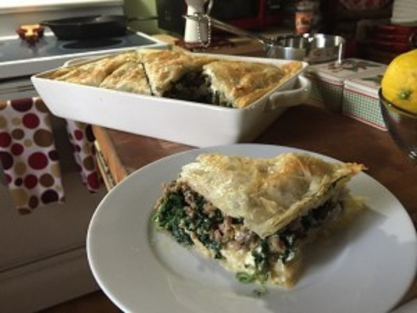Spinach Pie With Sweet Italian Sausage