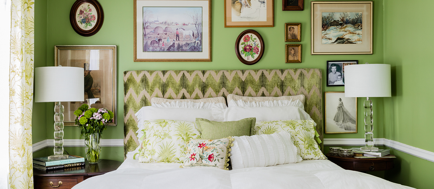 Linda Merrill Design Green bedroom hanging art