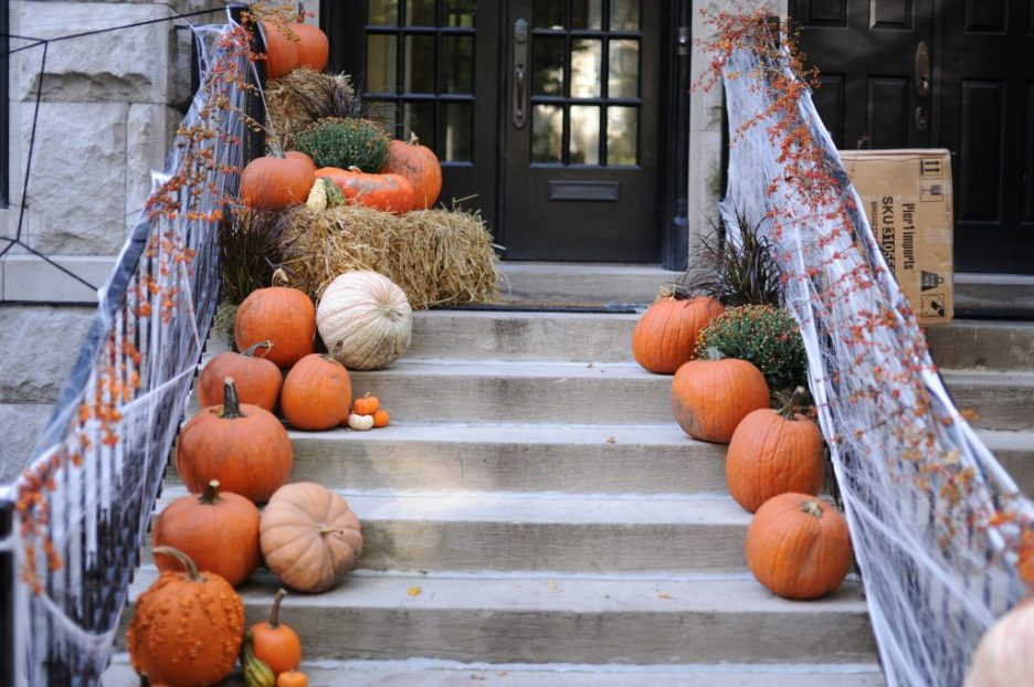 Pumpkins on a front stairs door decor fall foward
