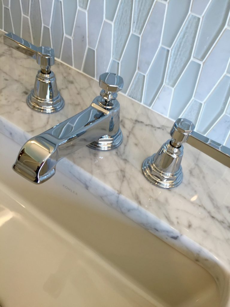 2016 Boston Magazine Design Home at The Pinehills Plymouth MA nickel faucet and mirrored tile