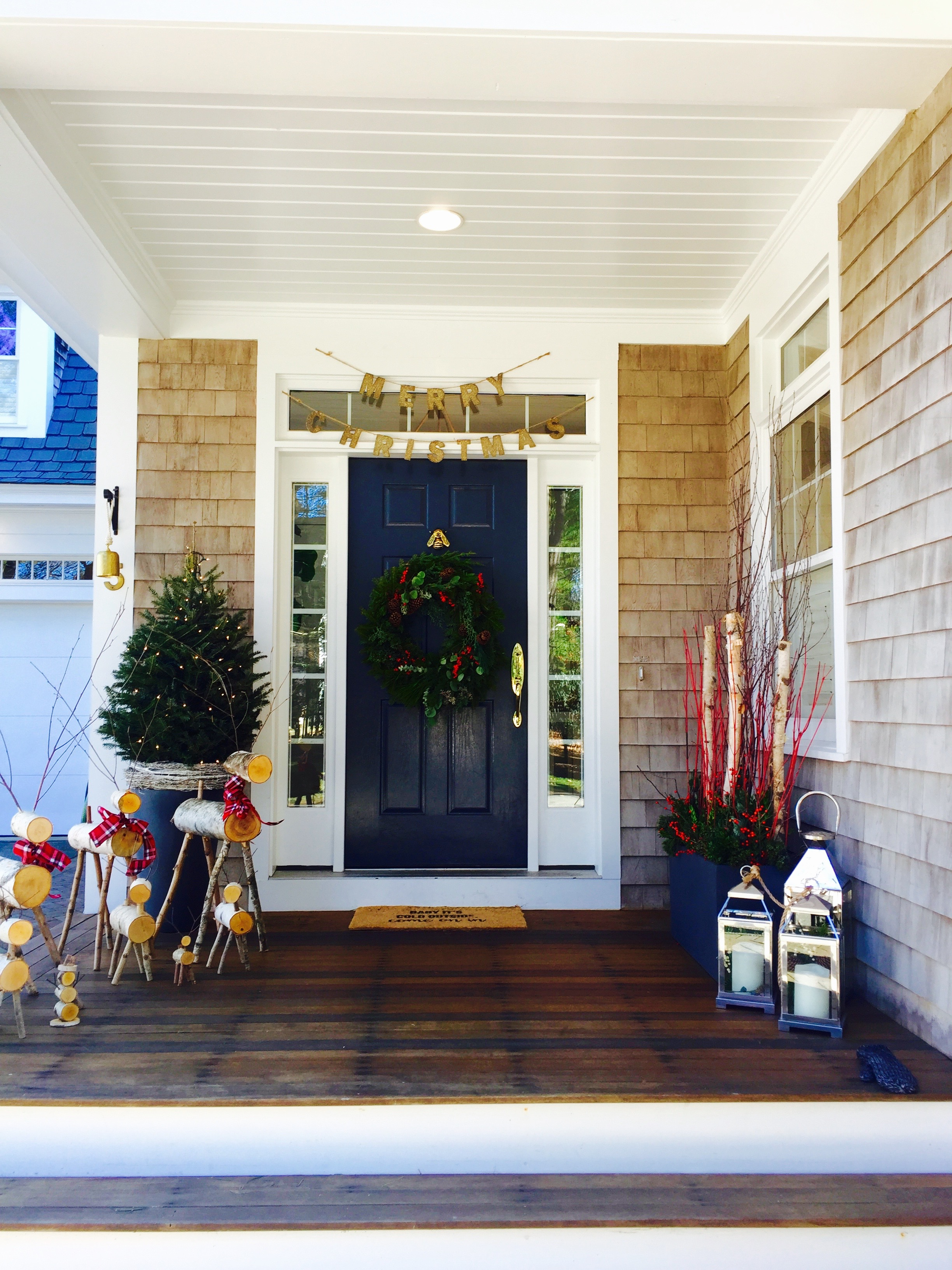 front door, shingle style house decorated for Christmas, Newburyport MA