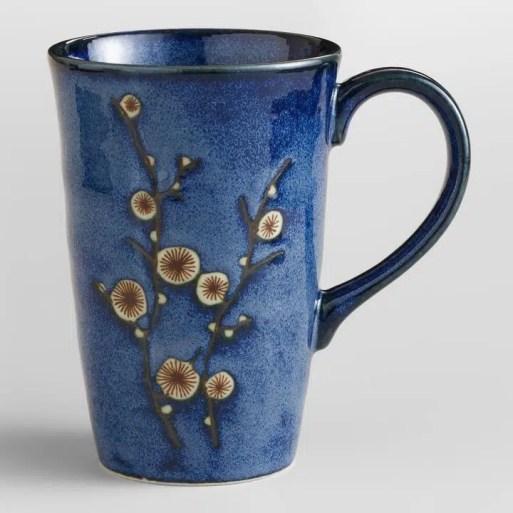Cherry blossom blue mug