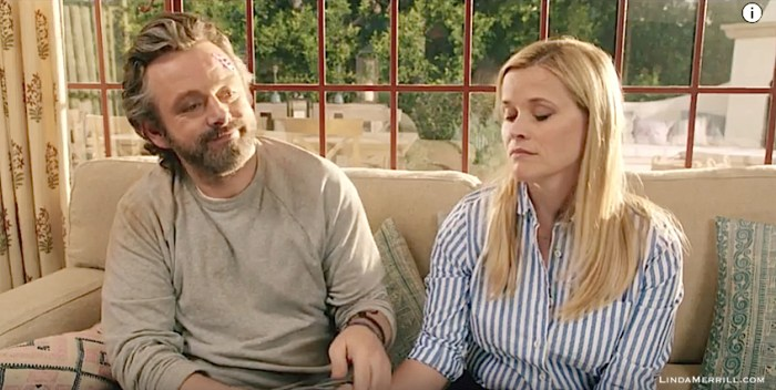 Home Again movie Reese Witherspoon and Michael Sheen on sofa