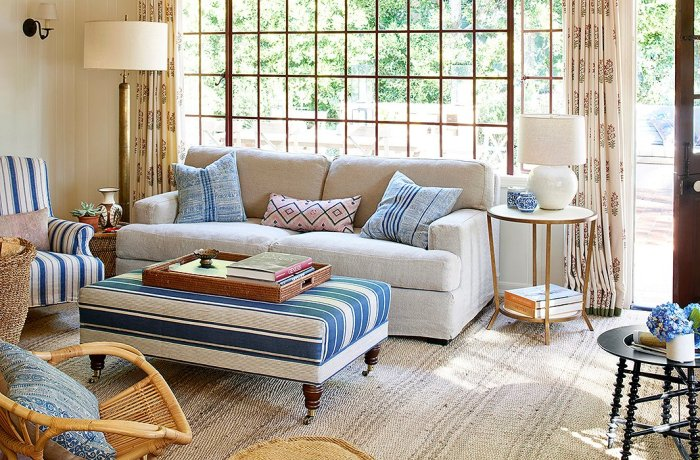 Home Again Movie living room natural sofa blue and white ottoman stripes rattan chairs