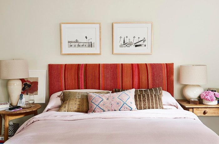 Home Again Movie back yard bedroom upholstered headboard red pink orange stripe fabric pillows