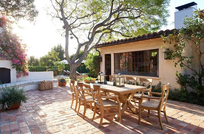 Home Again Movie back yard dining patio teak table and chairs