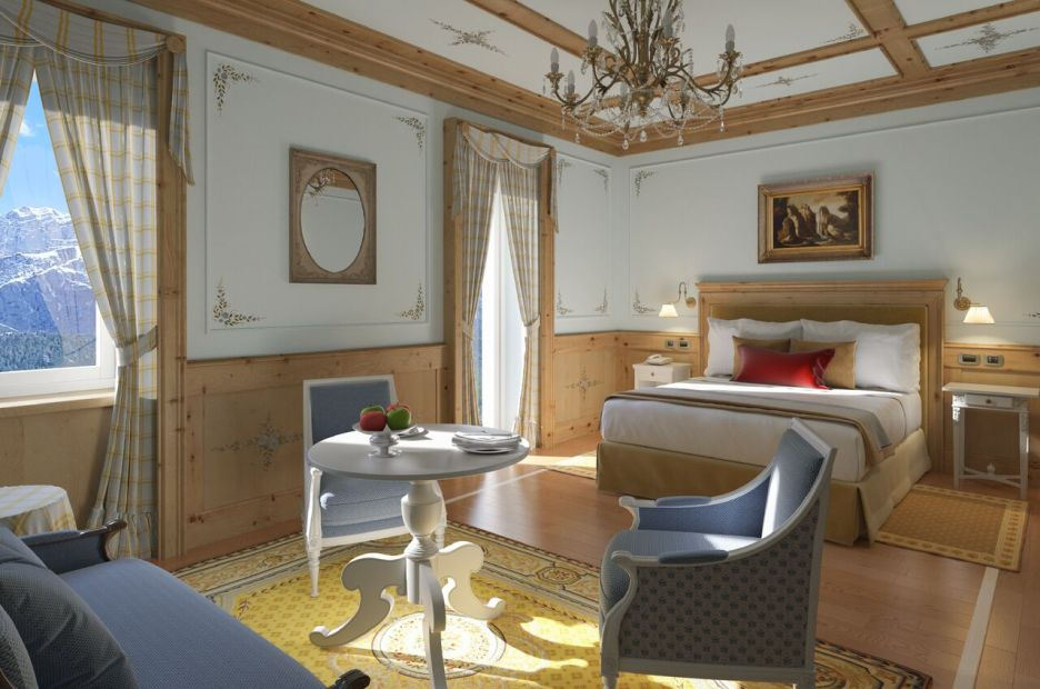 Cristallo Resort hotel bedroom with seating area
