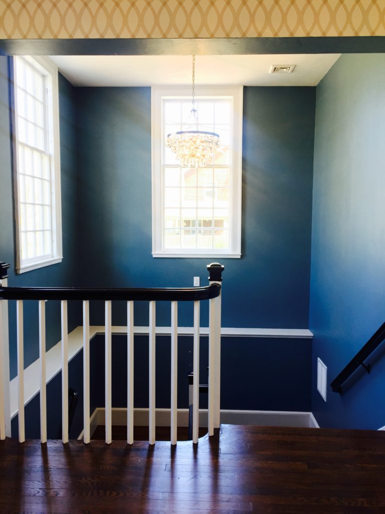 Dark Blue stairwell Hingham Church Conversion