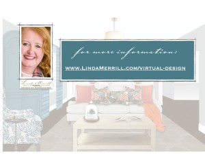 Cover page of Virtual Interior design services video showing a living room design and Linda Merrill.
