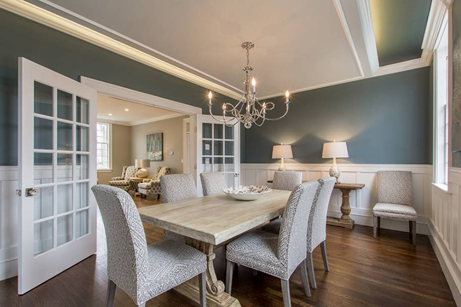 Blue dining room white wainscot Hingham Church Conversion