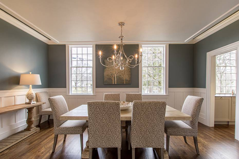 Blue dining room Hingham Church Conversion