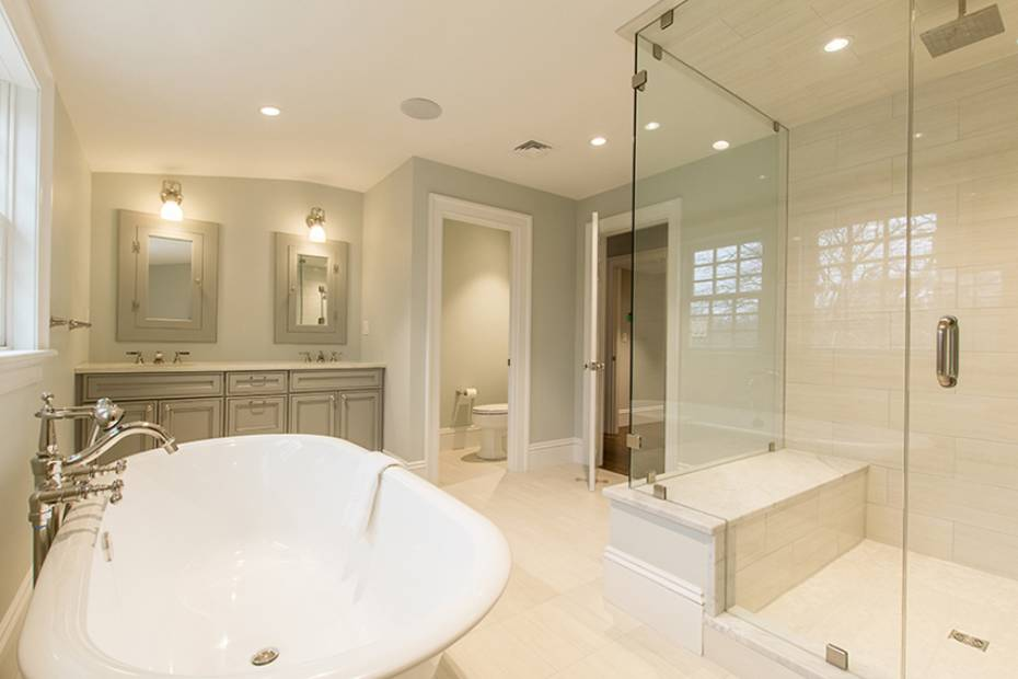 Bathroom with freestanding tub and glass shower Hingham Church Conversion