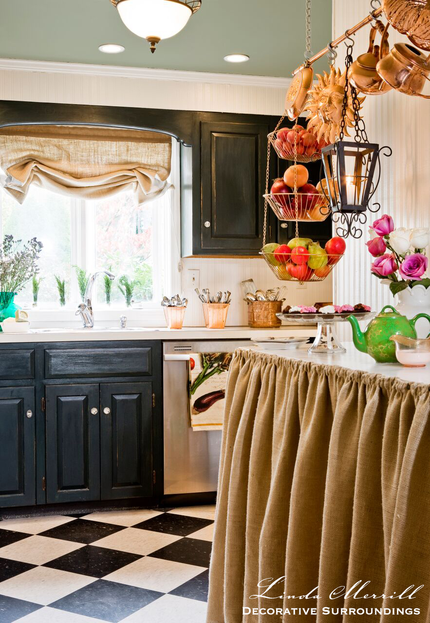 Design By Linda Merrill Decorative Surroundings French Country Kitchen With Burlap Counter Skirt Copper