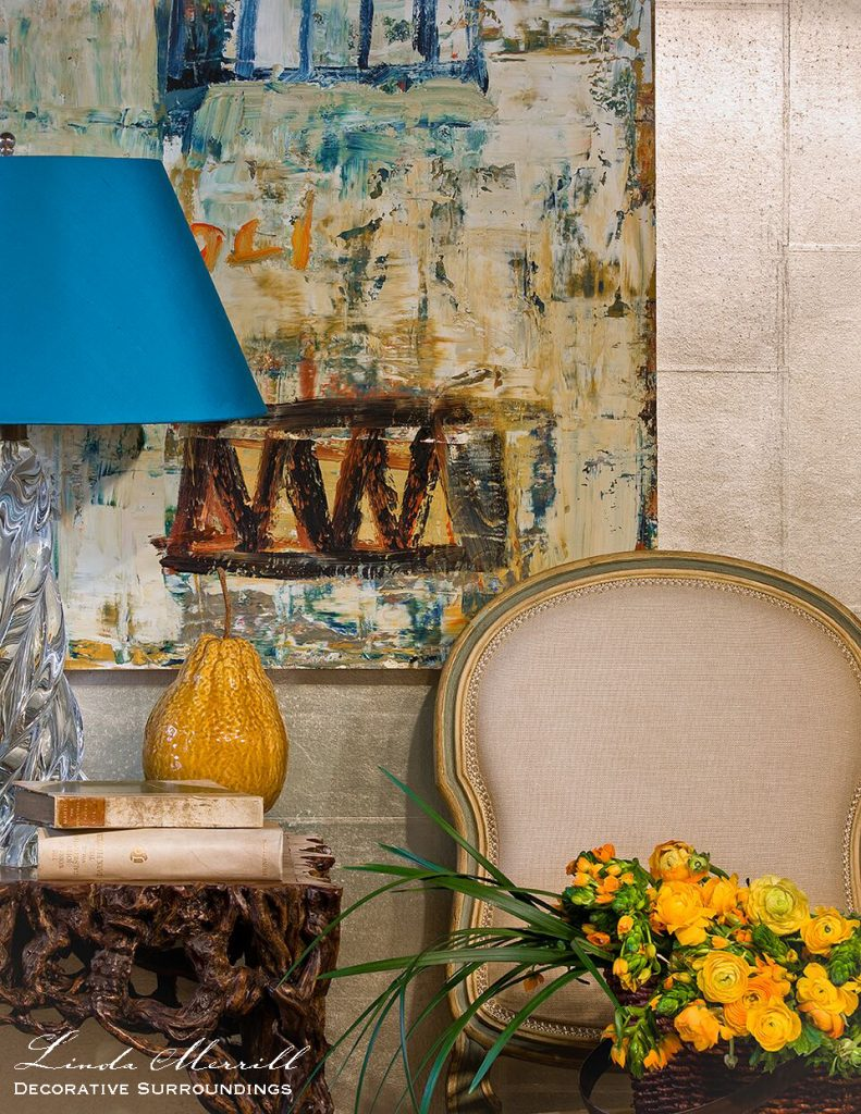 colorful design, blue and yellow with gray, antiques and faux bois