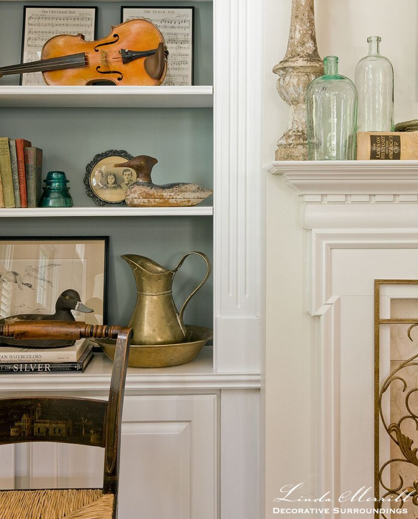 Design by Linda Merrill Decorative Surroundings: Coastal Home living room in Duxbury MA fireplace shelves painted shelves antiques accessories