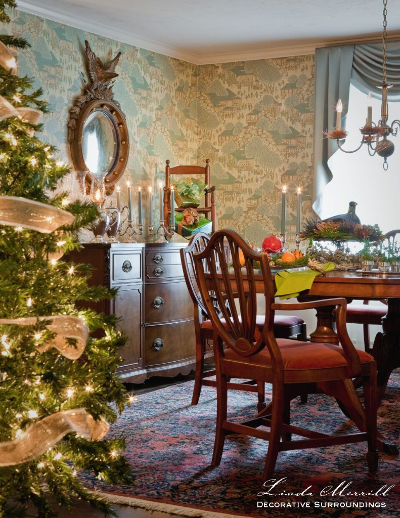A formal dining room decorated for Christmas, Christmas tree