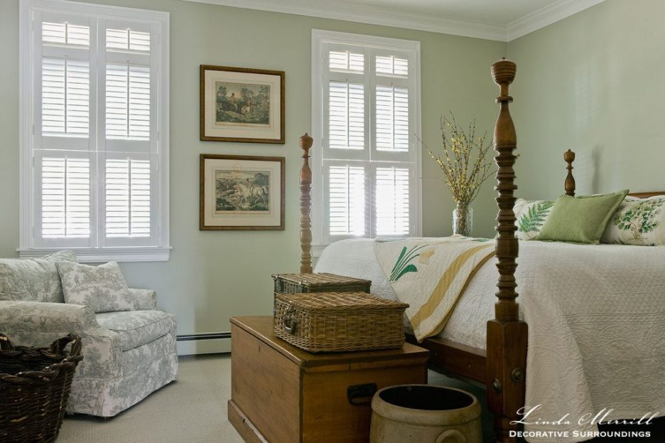 Design by Linda Merrill Decorative Surroundings: Coastal Home bed room in Duxbury MA with green walls, white bedding four poster antique bed shutters