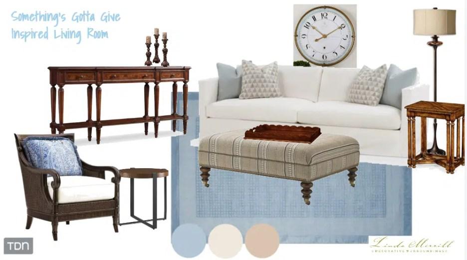 Something's Gotta Give inspired Living Room design by Linda Merrill