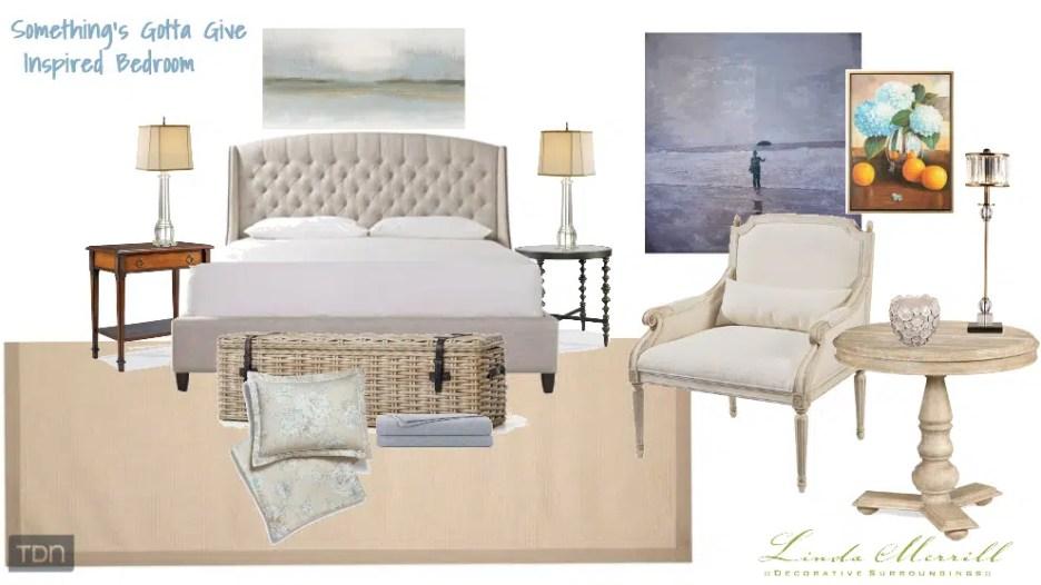 Something's Gotta Give inspired bedroom design by Linda Merrill