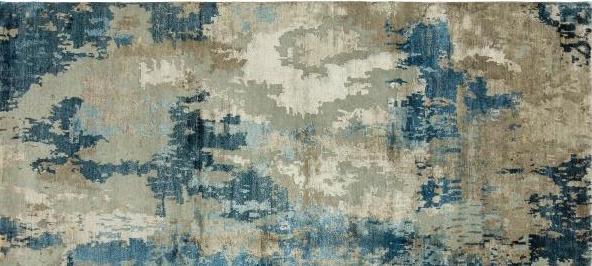 Modern rug with teal, gray, beige, green