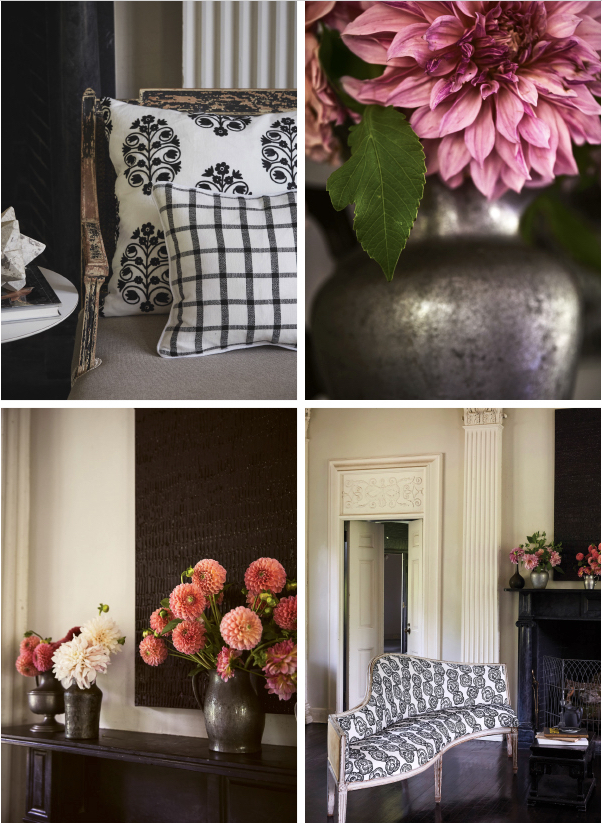 Schumacher fabrics, romantic floral arrangements, black, cream and gray colors.