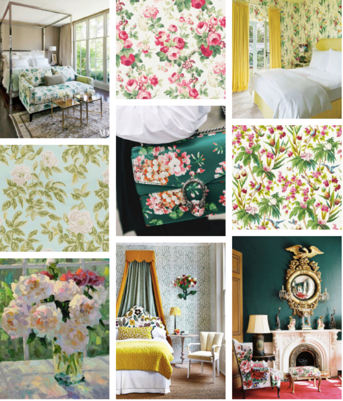 Schumacher fabrics, florals, bedding, upholstery, flowers, green yellow pink