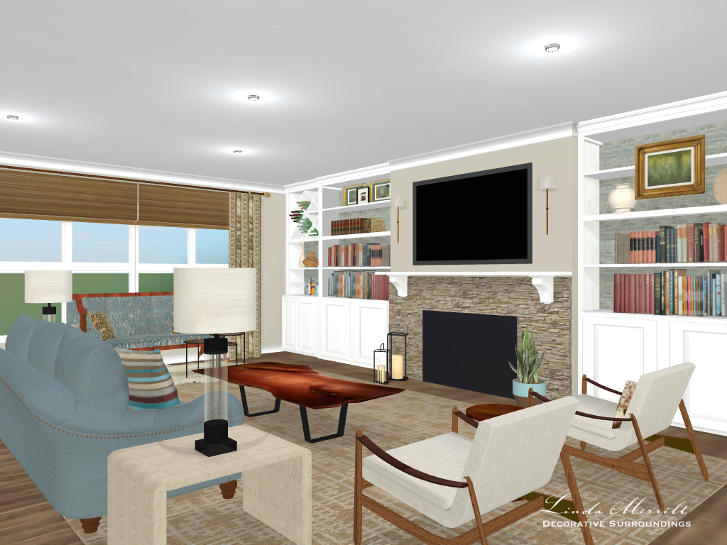Linda Merrill Decorative Surroundings design: great room space, beige, blue, window treatments, digital rendering, built-ins