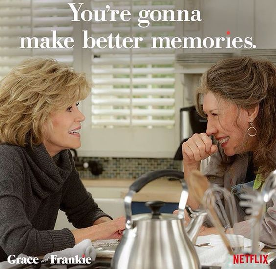 Grace and Frankie besties memories over tea in kitchen