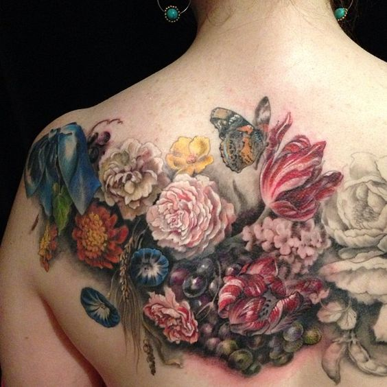 2 Old master floral tatoo on back