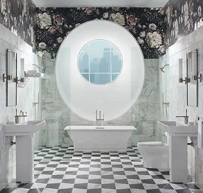 Kohler bathroom Ellie Cashman Dark Floral II Black Saturated
