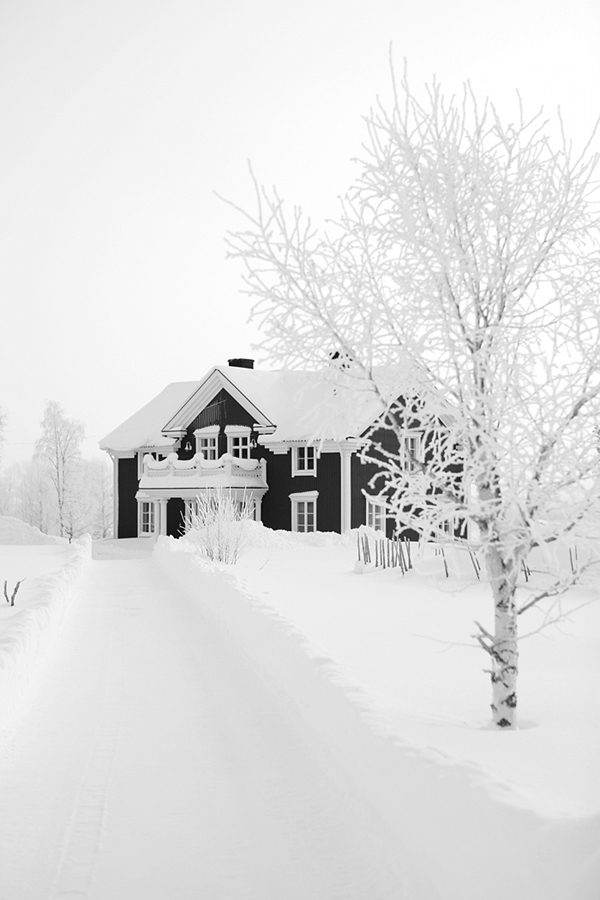 Color of the Month Black and White house in snow Lapland