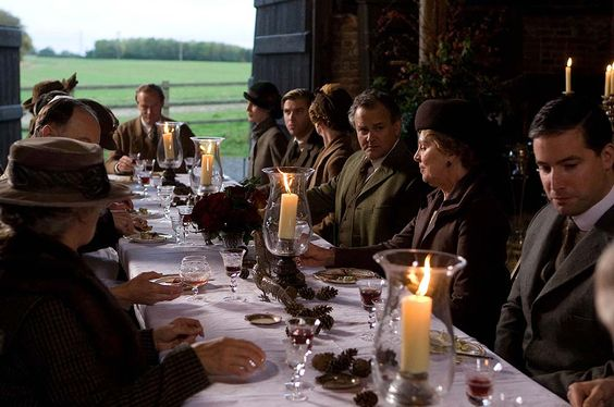 2 Outdoor dining Downton Abbey dining in a barn