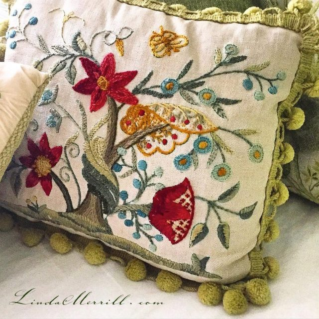 Linda Merrill design Mom embroidery pillow