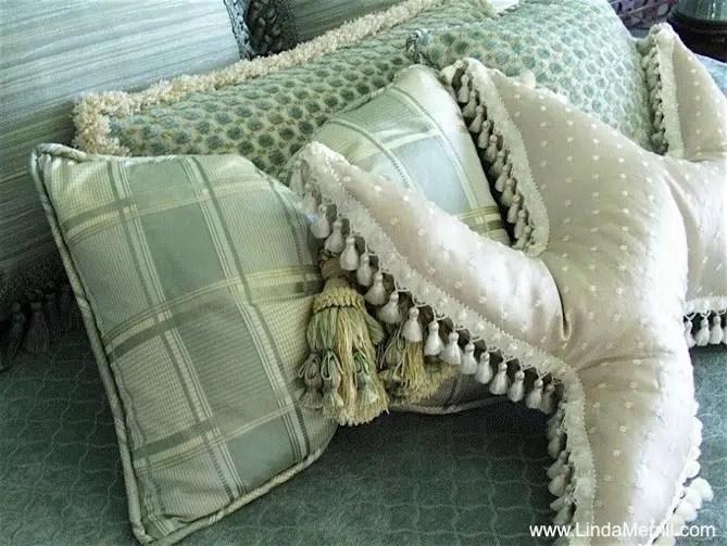 Linda Merrill design custom made bedding pillows seamist green blue silk