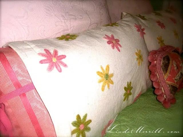 Linda Merrill design custom pillows bedding pink and green floral