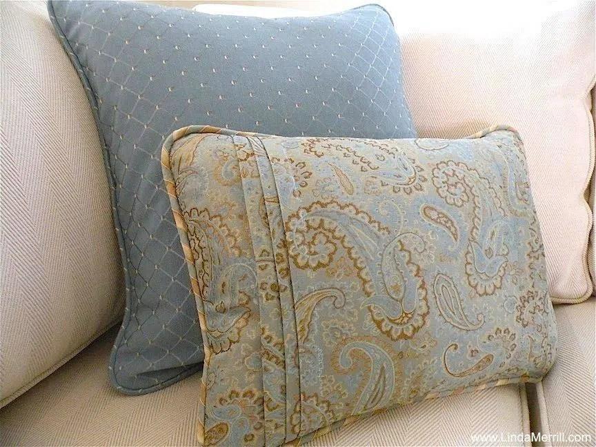 Linda Merrill design custom pillows blue beige coastal