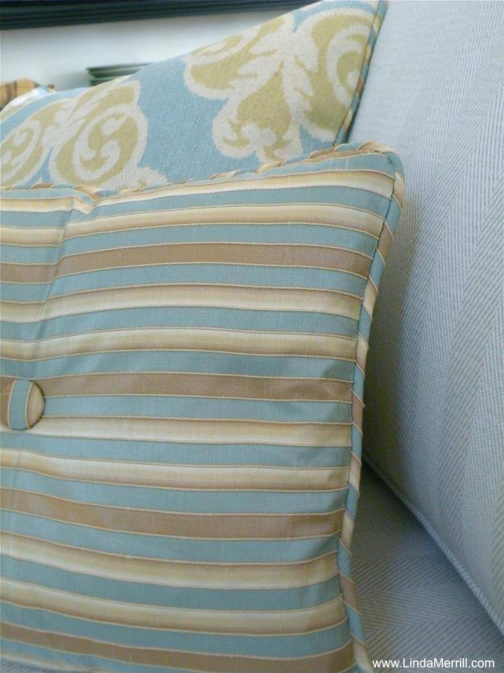 Linda Merrill design custom pillows blue beige